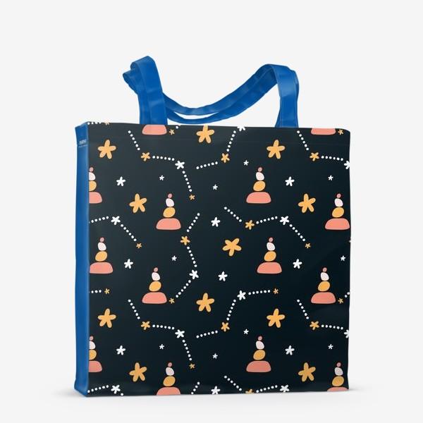 Сумка-шоппер «темно синий паттерн  с узором неба и созвездий со стильными элементами»