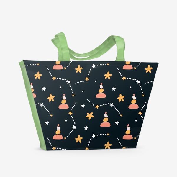 Пляжная сумка «темно синий паттерн  с узором неба и созвездий со стильными элементами»