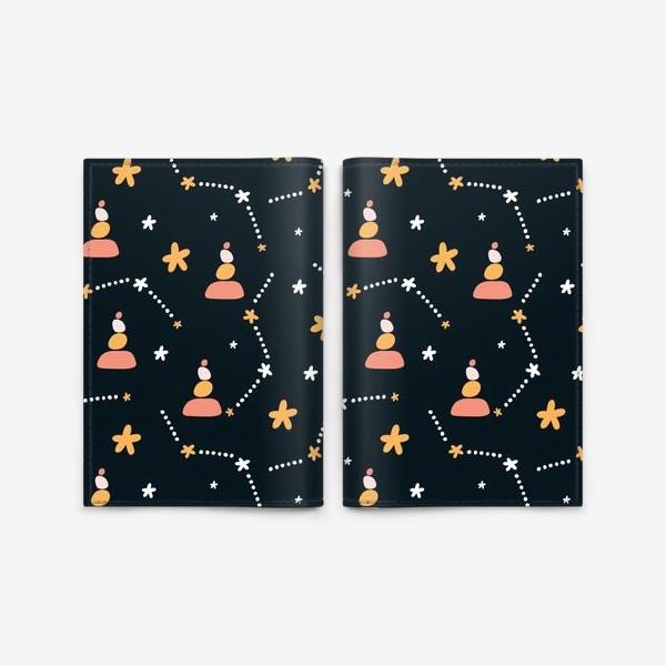 Обложка для паспорта «темно синий паттерн  с узором неба и созвездий со стильными элементами»