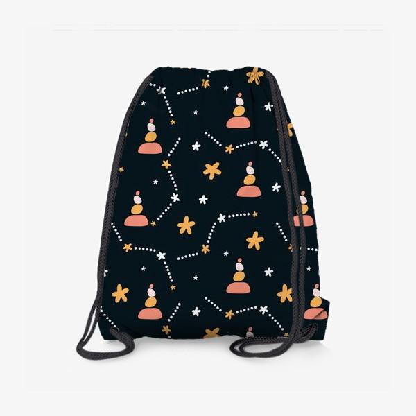 Рюкзак «темно синий паттерн  с узором неба и созвездий со стильными элементами»