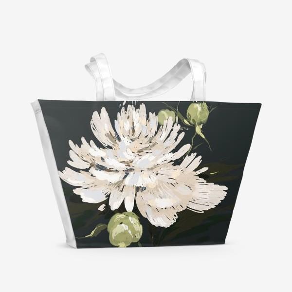 Пляжная сумка «пионы белые»