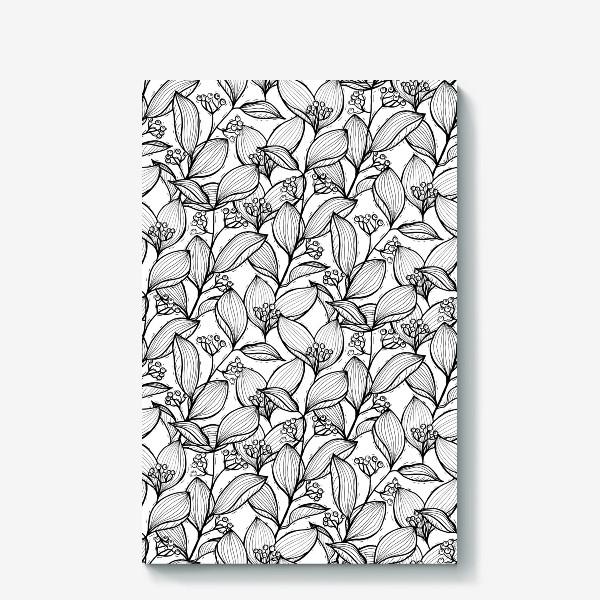 Холст «Черно-белые ветки с листьями и ягодами»