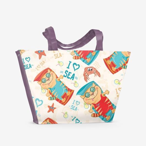Пляжная сумка «Кот и море»