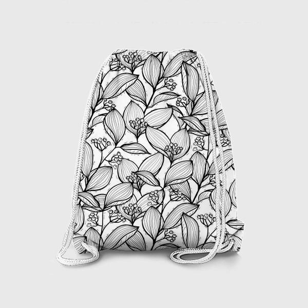 Рюкзак «Черно-белые ветки с листьями и ягодами»