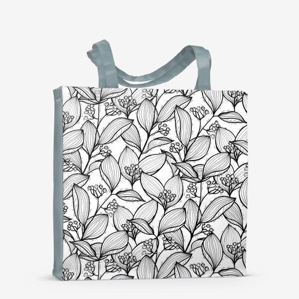 Сумка-шоппер «Черно-белые ветки с листьями и ягодами»