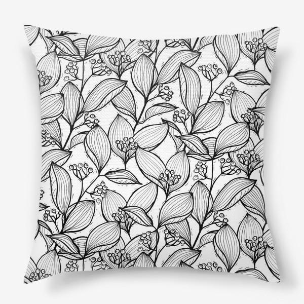 Подушка «Черно-белые ветки с листьями и ягодами»