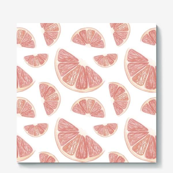 Холст «Паттерн с грейпфрутами»