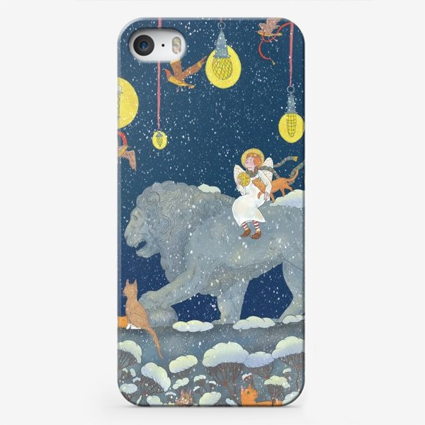 Чехол iPhone «Первый снег. Ангел, Лев и котики»