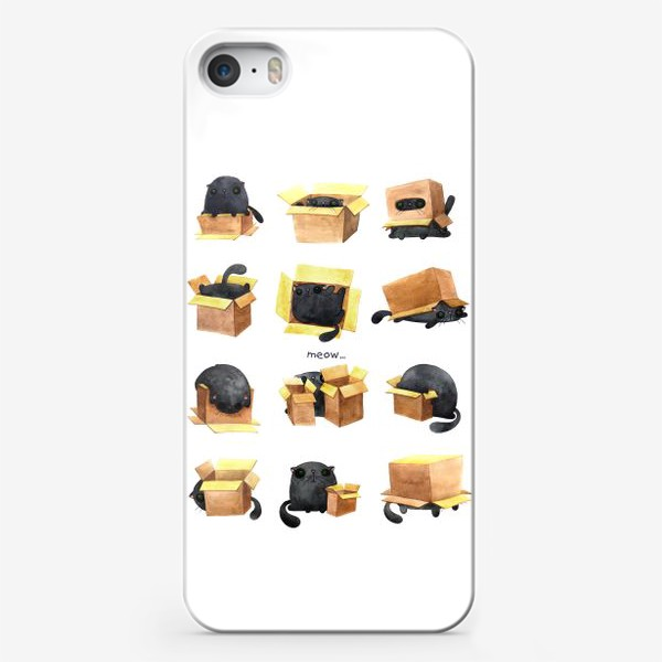 Чехол iPhone «Cat and box 1»