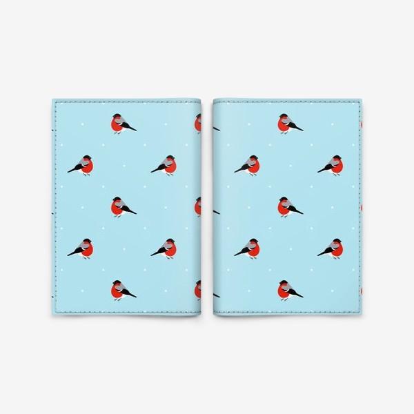 Обложка для паспорта «Снегирь на голубом фононе. Паттерн. »
