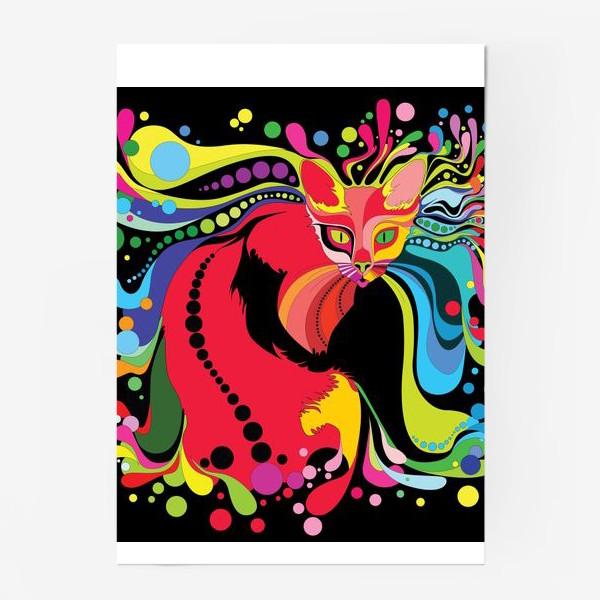 Постер «психоделический кот»