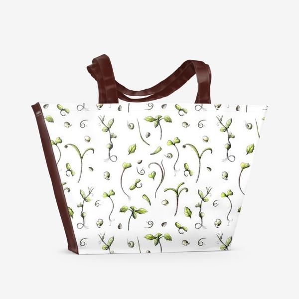 Пляжная сумка «Принт микрозелень»