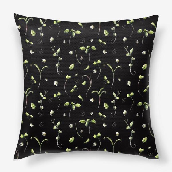 Подушка «Микрозелень на черном»