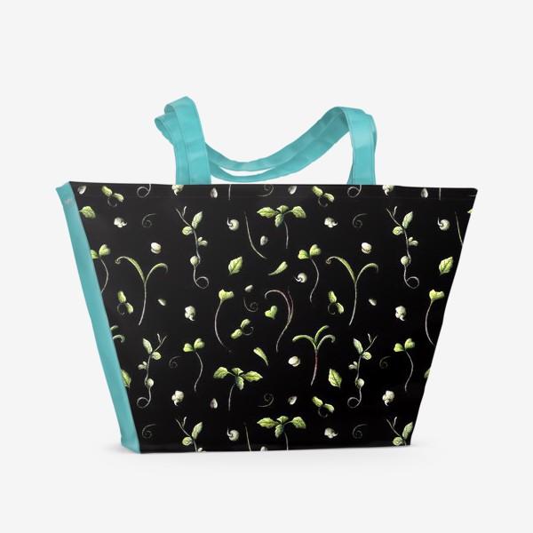 Пляжная сумка «Микрозелень на черном»