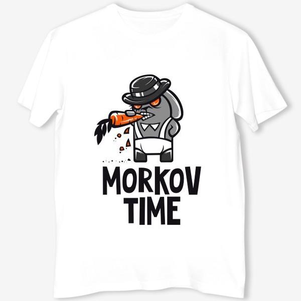 Футболка ««Morkov Time»: отсылка «Заводному апельсину», кролик»