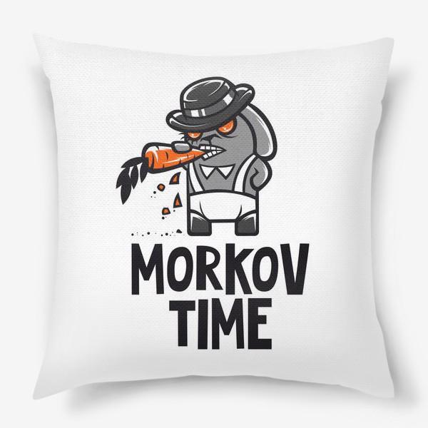 Подушка ««Morkov Time»: отсылка «Заводному апельсину», кролик»