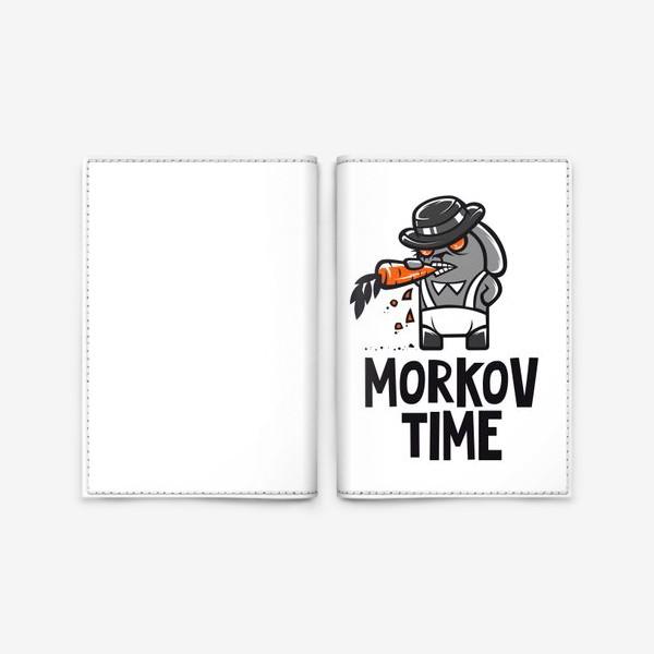 Обложка для паспорта ««Morkov Time»: отсылка «Заводному апельсину», кролик»