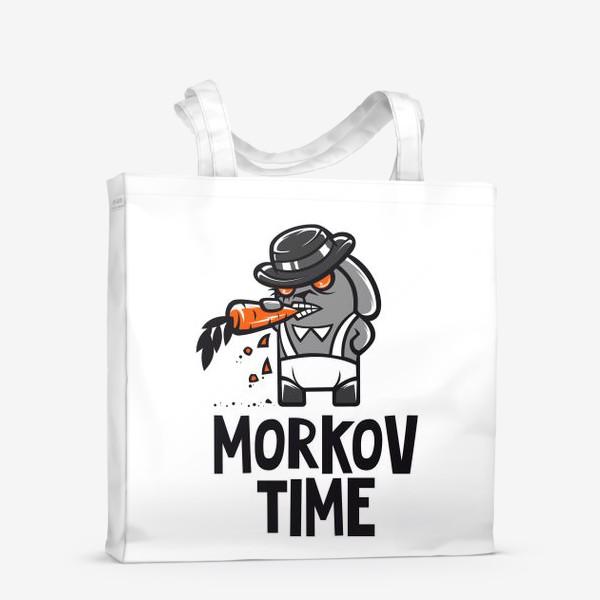 Сумка-шоппер ««Morkov Time»: отсылка «Заводному апельсину», кролик»