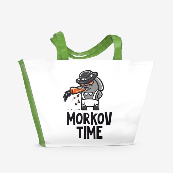 Пляжная сумка ««Morkov Time»: отсылка «Заводному апельсину», кролик»