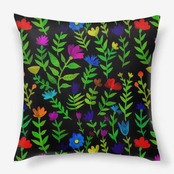 Подушка «Паттерн с яркими цветами»