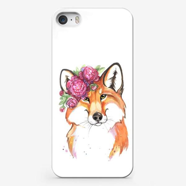 Чехол iPhone «лиса в пионах»