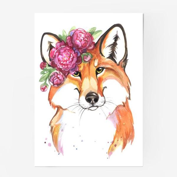Постер «лиса в пионах»