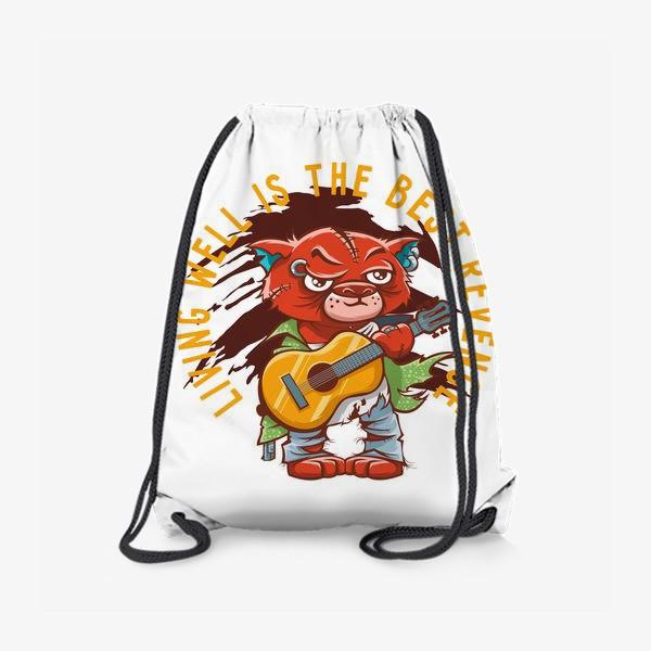 Рюкзак ««Лучшая месть - жизнь»: гранжевый котик с гитарой»