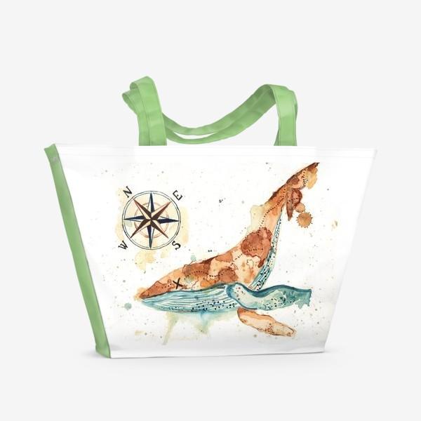Пляжная сумка «Кит со старинной картой мира.»