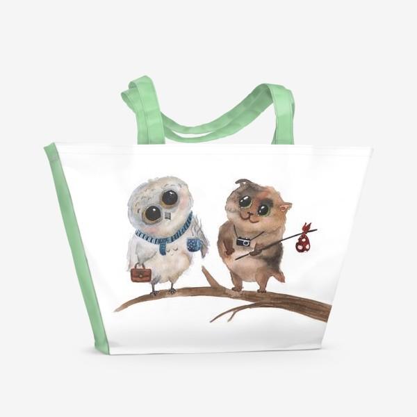 Пляжная сумка «Сова и кот»