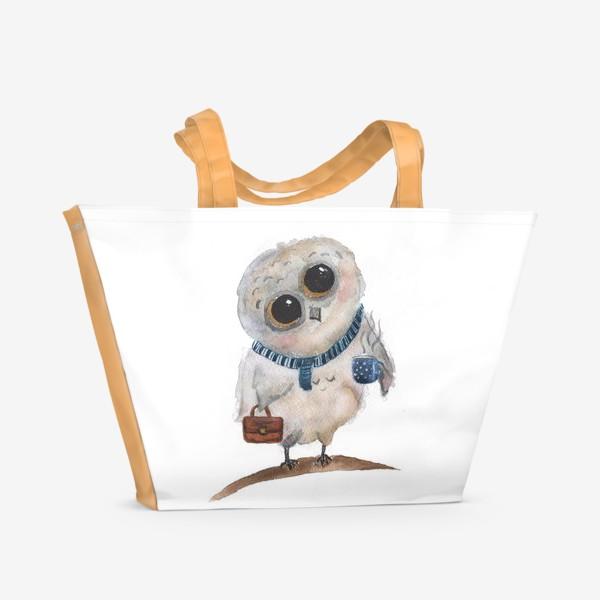Пляжная сумка «Сова с кофе. »
