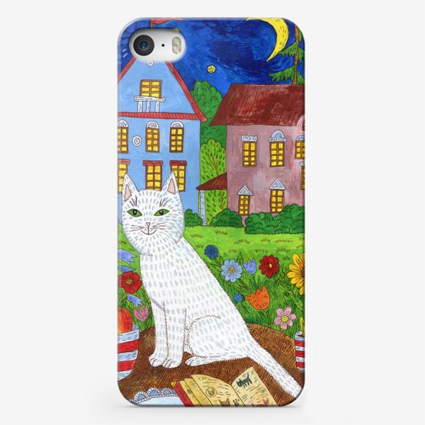 Чехол iPhone «Белая кошка и тихий летний вечер»