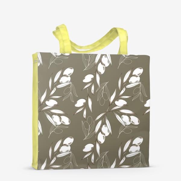 Сумка-шоппер «Ветвь оливы паттерн на теплом сером»