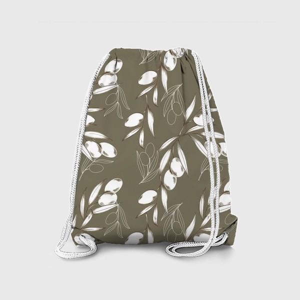 Рюкзак «Ветвь оливы паттерн на теплом сером»