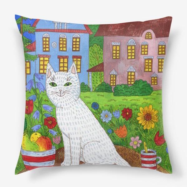 Подушка «Белая кошка и тихий летний вечер»