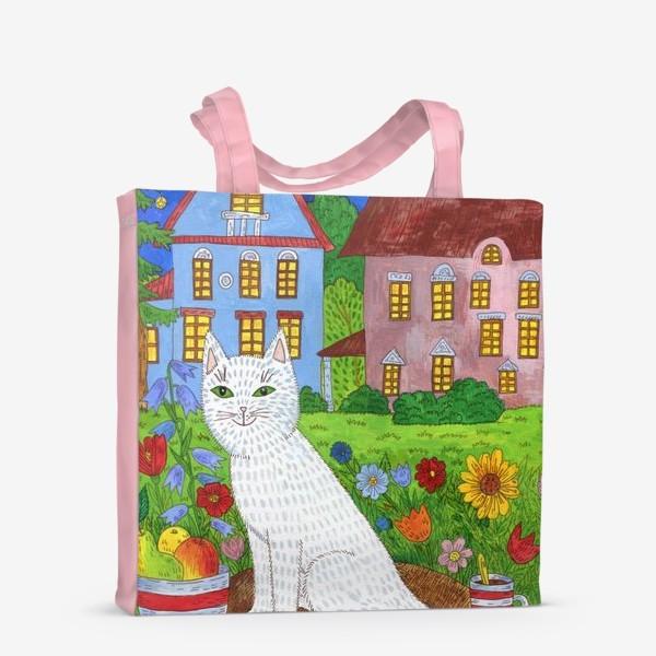 Сумка-шоппер «Белая кошка и тихий летний вечер»
