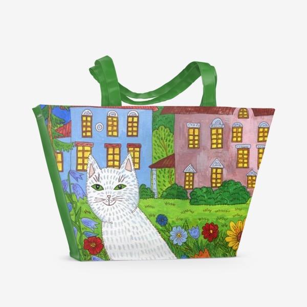 Пляжная сумка «Белая кошка и тихий летний вечер»