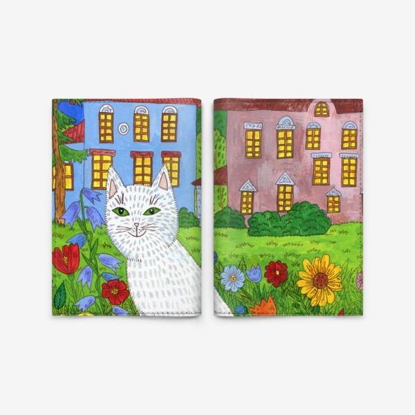 Обложка для паспорта «Белая кошка и тихий летний вечер»