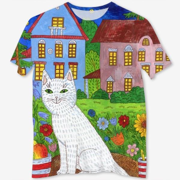 Футболка с полной запечаткой «Белая кошка и тихий летний вечер»