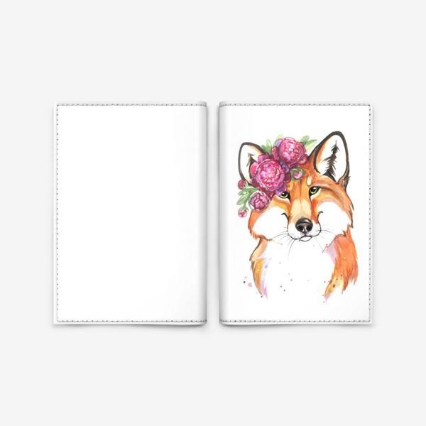 Обложка для паспорта «лиса в пионах»