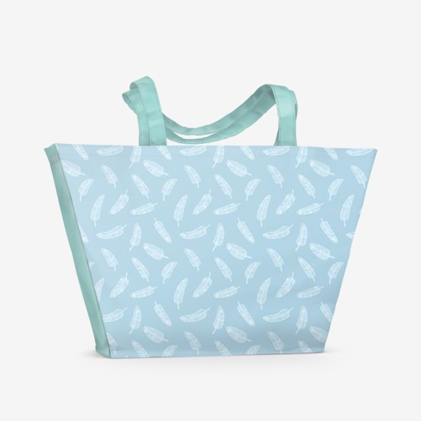 Пляжная сумка «Перья на голубом»
