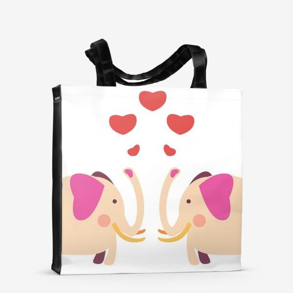 Сумка-шоппер «Слоны с сердечками»