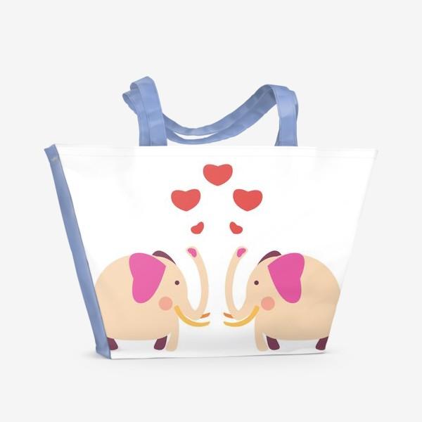 Пляжная сумка «Слоны с сердечками»