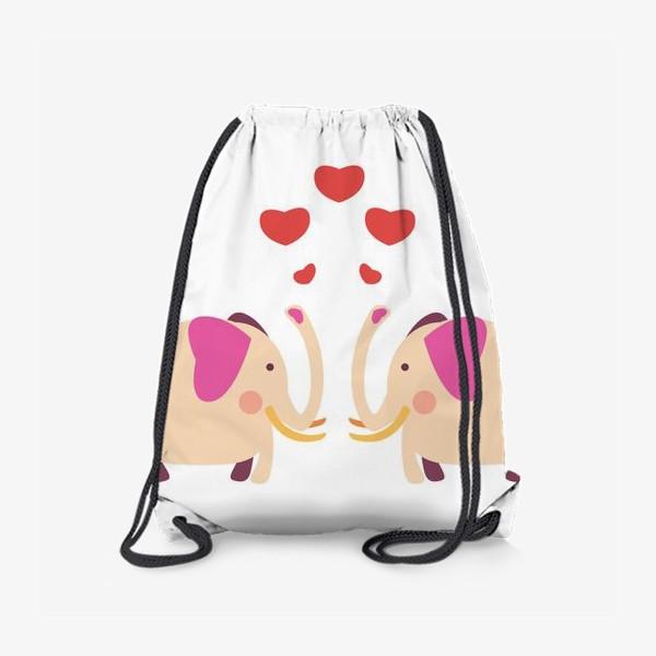 Рюкзак «Слоны с сердечками»