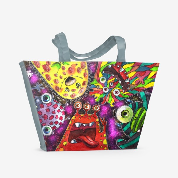 Пляжная сумка «Смешные инопланетяне»