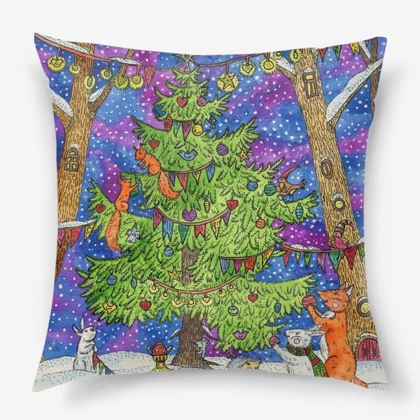 Подушка «Новый год в сказочном лесу»