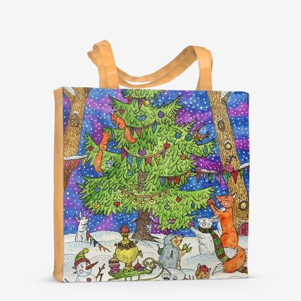 Сумка-шоппер «Новый год в сказочном лесу»