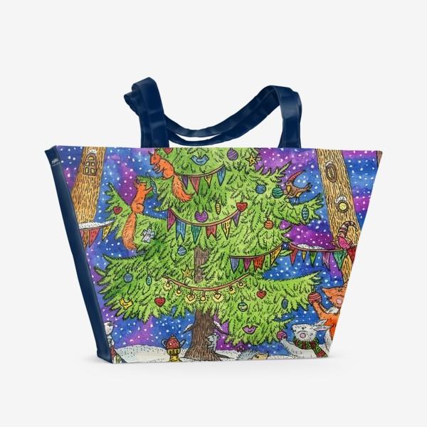 Пляжная сумка «Новый год в сказочном лесу»