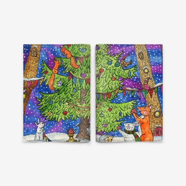 Обложка для паспорта «Новый год в сказочном лесу»