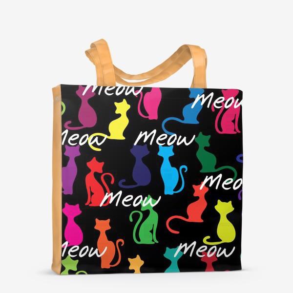 Сумка-шоппер «Разноцветный фон с силуэтами кошек»