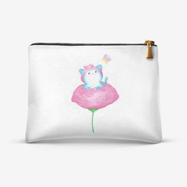Косметичка «Котенок и цветок. Милые животные»